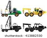 forwarder forestry vehicle.... | Shutterstock .eps vector #413882530