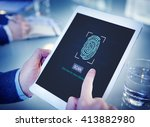fingerprint scan biometrics...   Shutterstock . vector #413882980
