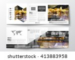 vector set of tri fold... | Shutterstock .eps vector #413883958
