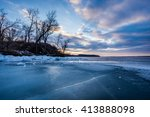 Frozen Lake Mendota At Sunset