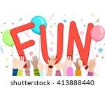 illustration of kids waving...   Shutterstock .eps vector #413888440