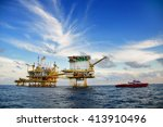 offshore construction platform... | Shutterstock . vector #413910496