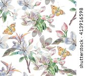 seamless pattern with flowers... | Shutterstock . vector #413916598