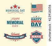 text happy memorial day set...   Shutterstock .eps vector #413918356