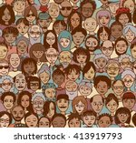 diverse crowd of people  ... | Shutterstock .eps vector #413919793