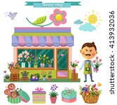 Flower Shop. Vector Set In Fla...