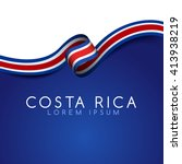 costa rica flag ribbon   vector ... | Shutterstock .eps vector #413938219