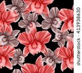 seamless orchid flower  plant... | Shutterstock . vector #413938630