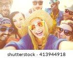 friendship selfie relaxation... | Shutterstock . vector #413944918