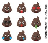 set of poo icons. shit... | Shutterstock .eps vector #413952508