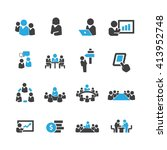 meeting icons vector   Shutterstock .eps vector #413952748