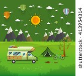 national mountain park camping... | Shutterstock .eps vector #413954314