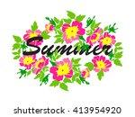 vector round frame wreath... | Shutterstock .eps vector #413954920