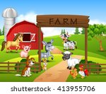 farm background with animals   Shutterstock .eps vector #413955706