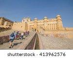 amber fort in jaipur  rajasthan ... | Shutterstock . vector #413962576