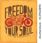 motorcycle freedom  label ... | Shutterstock .eps vector #413963890