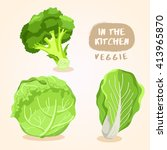 broccoli  cabbage and lettuce   ... | Shutterstock .eps vector #413965870