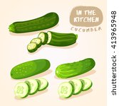 zucchini and cucumber  ... | Shutterstock .eps vector #413965948