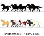 running horses group set | Shutterstock .eps vector #413971438