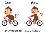 opposite words fast and slow... | Shutterstock .eps vector #413976538