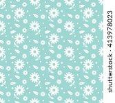 green seamless flower pattern | Shutterstock .eps vector #413978023