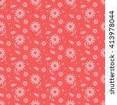 red seamless flower pattern | Shutterstock .eps vector #413978044
