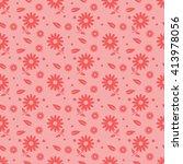 red seamless flower pattern | Shutterstock .eps vector #413978056