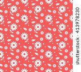 red seamless flower pattern | Shutterstock .eps vector #413978230