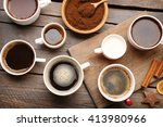 cups of coffee with spices on...   Shutterstock . vector #413980966