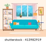 living room with furniture.... | Shutterstock .eps vector #413982919