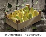 pear basket   pear orchard  ... | Shutterstock . vector #413984050