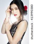 beautiful asian fashion model... | Shutterstock . vector #413990380