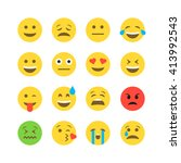 abstract funny flat style emoji ... | Shutterstock .eps vector #413992543