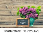 lilac flowers and vintage...   Shutterstock . vector #413993164
