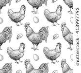 vector chicken breeding hand... | Shutterstock .eps vector #413997793