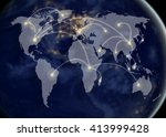 network and world map... | Shutterstock . vector #413999428