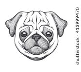 cute pug. portrait of dog in... | Shutterstock .eps vector #413999470