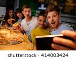 cheerful multiracial friends... | Shutterstock . vector #414003424