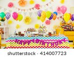 colorful dessert table with... | Shutterstock . vector #414007723