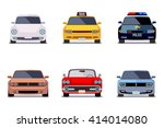 car flat vector icons in front...
