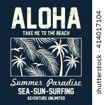 aloha typography with floral... | Shutterstock .eps vector #414017104