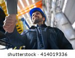 portrait of a man giving an... | Shutterstock . vector #414019336