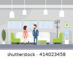 business people on sofa  modern ... | Shutterstock .eps vector #414023458