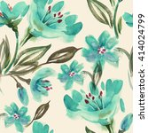 watercolor turquoise flowers... | Shutterstock . vector #414024799