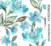 watercolor turquoise flowers... | Shutterstock . vector #414024808