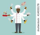 multitasking african american... | Shutterstock .eps vector #414033178