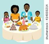 african american family dinner ... | Shutterstock .eps vector #414033214
