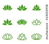 vector green lotus icons set on ... | Shutterstock .eps vector #414033958