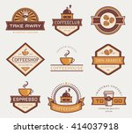 coffee logo templates. set of... | Shutterstock .eps vector #414037918