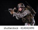 us marine in uniform helmet ... | Shutterstock . vector #414042490